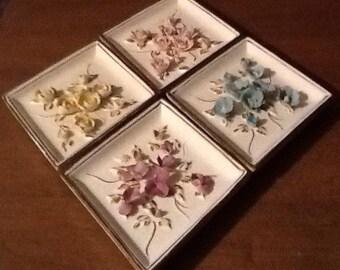 Lefton, Porcelain Floral Pastel Flower Grouping. Diamond shaped, midcentury, shabby chic, cottage