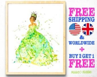 Disney Princess Prints, Tiana and the Frog, Watercolor Art, Nursery Decor, Kids Decor, Baby Girls Room Decor, Wall Art, Wedding Gifts - 105
