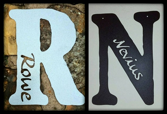 Personalized Wall Decor Letters : Personalized rustic metal letters nursery by