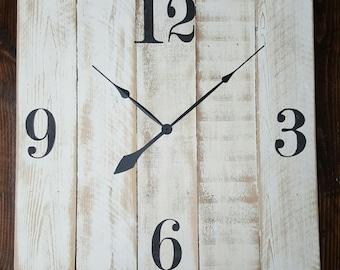 "30"" farmhouse wall clock with Arabic numerals - Oversized wall clock - large clock - big clock - farmhouse decor"