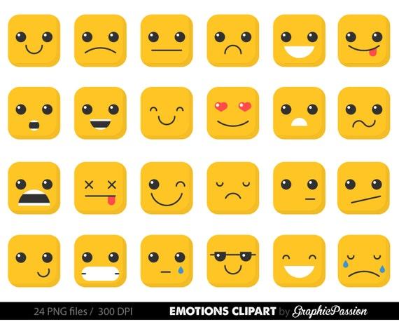 Emotion Clipart Gefühle Clipart Gesichter Collage Sheet Emoji