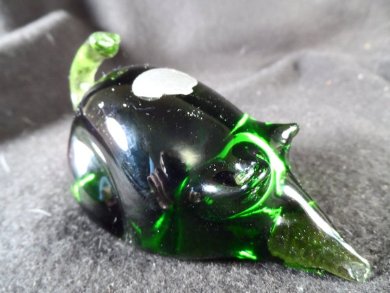 Mouse-Art Glass-Figurine-Green Mouse Sculpture-Rainbow Glass-Animal-Home decor