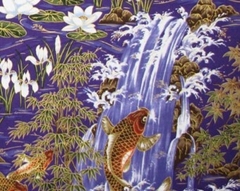 """Japanese Fabric, Koi Fish, Lotus Flowers, Water Lily, Bamboo, for Kimono, All Clothing and Crafting 45""""Wide OC1446"""