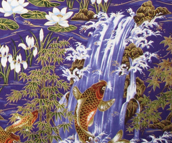 Japanese fabric koi fish lotus flowers by hawaiianfabricnbyond for Koi fish print fabric