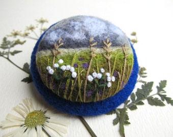 Felt brooch,Needle felt  Brooch with embroidery, Wool felt brooch, Needle felted jewelry,felted landscapes