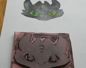 Hand Carved Toothless Rubber Stamp