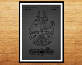Star Wars, Millennium Falcon Star Wars Poster, Millennium Falcon Star Wars Patent, Millennium Falcon Star Wars Print, Millennium Falcon
