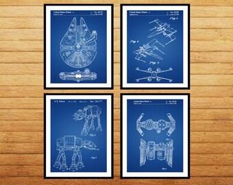 Star Wars 4 pack, Millennium Falcon, Tie Bomber, X-wing, AT-AT, Star Wars Poster, Star Wars Patent, Millennium Falcon Star Wars Print