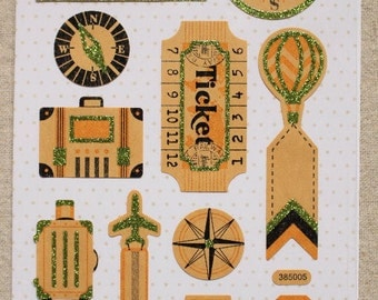 SALE - travel themed craft sticker sheet - 2 sheets - journaling/collage/letter decoration