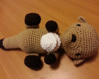 Amigurumi crochet stuffed sea otter w/ shellfish