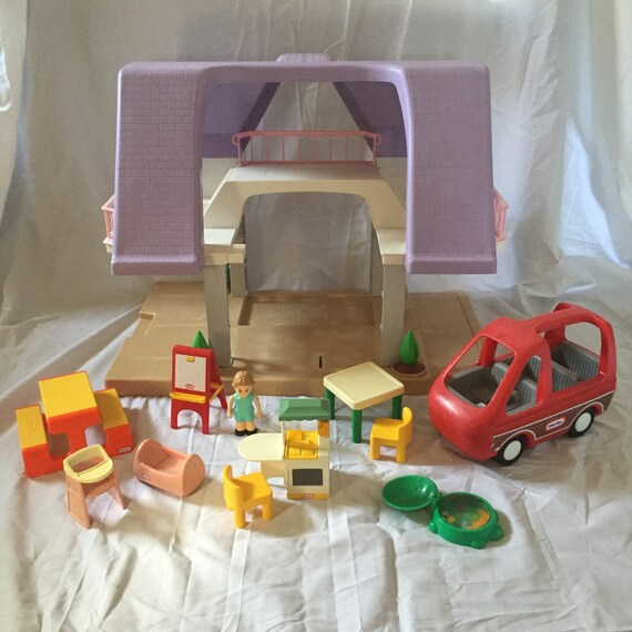 Vintage Little Tikes Purple Dollhouse With By
