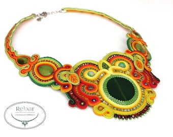 "Soutache Necklace ""Pavasaris"""