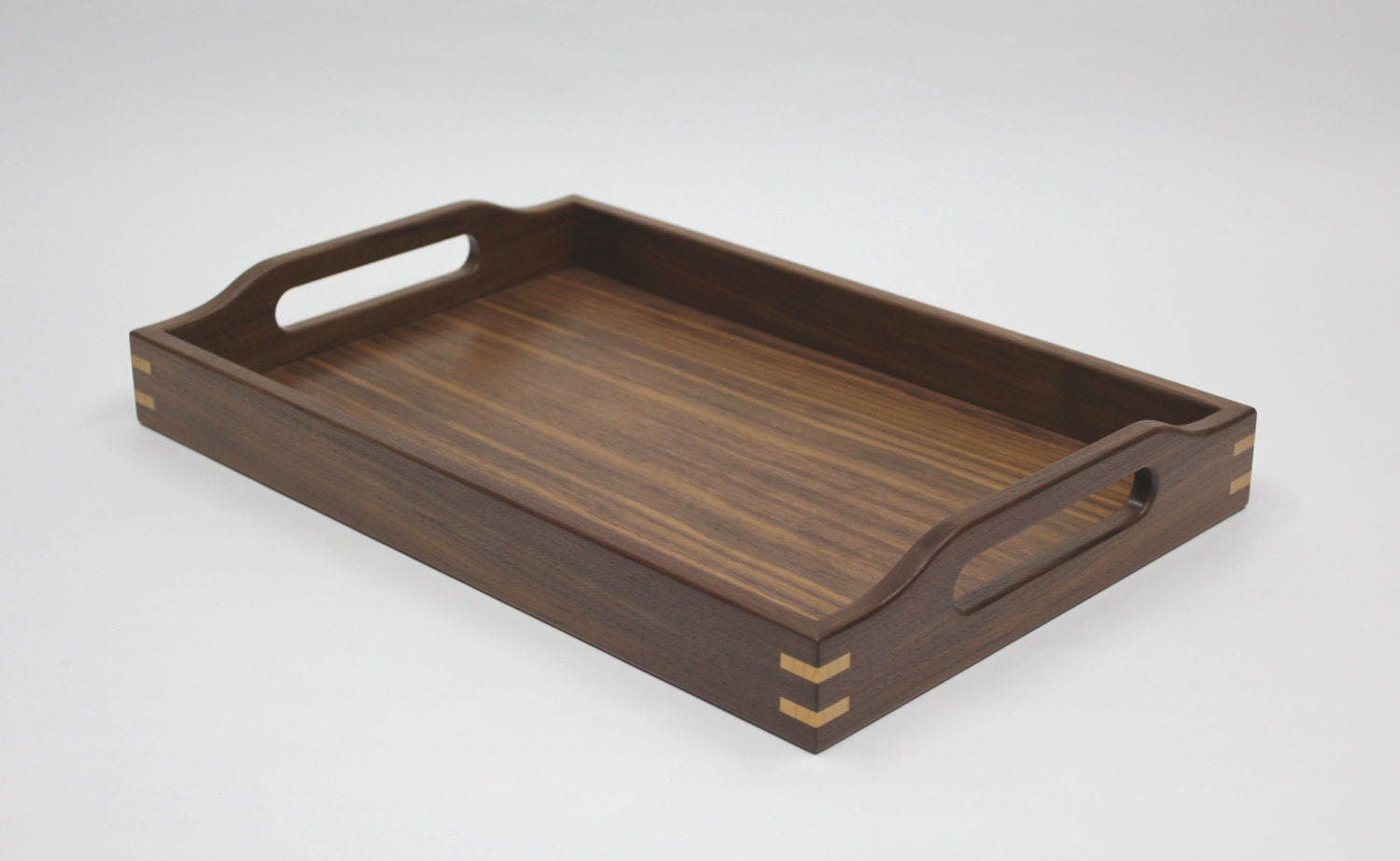 Large serving tray ottoman walnut with ash accents