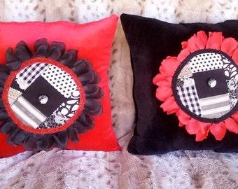 Set of 2 3D Black/Red Flower Pillows