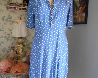 Pretty Blue and White Polka Dot 1940's Dress
