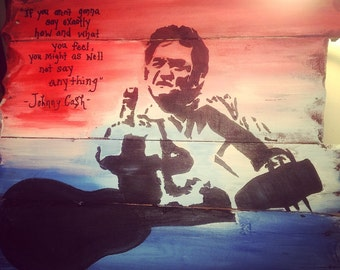 Johnny Cash on Reclaimed Wood