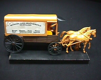 Vintage Sierra Jacks Two Horse & Wagon Vintage Rubber-Plastic Toy from the 1950's