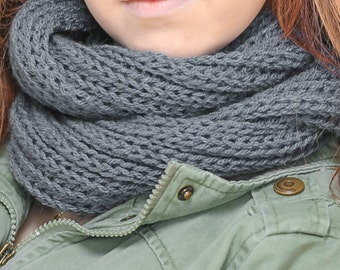 Knitted infinity scarf for woman snood blue denim