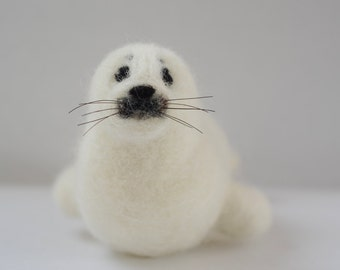 Needle Felted Harp Seal Pup, Needle Felted White Baby Seal, Harp Seal Sculpture, White Baby Seal Sculpture