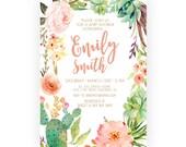 Girl Baby Shower Invitation, Succulent, Watercolor, Flowers, Boho, Baby Shower Invites (502)