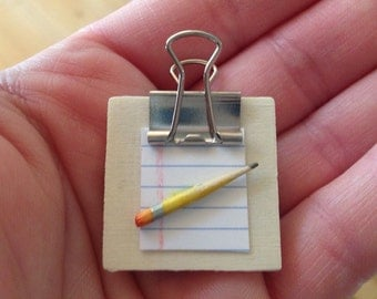 Miniature Clipboard Magnet, miniature office supplies, school supplies magnet, pencil and paper