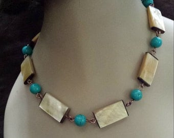 One strand beaded turquoise and shell necklace