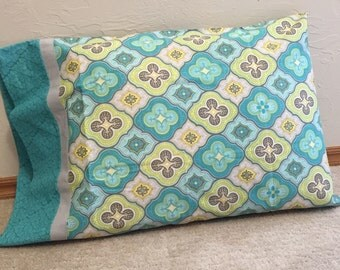 Teal, Yellow, Grey Gray - Handmade, 100% Cotton Pillowcase or Pillow cover, QUEEN / STANDARD size pillow case, Ready to ship