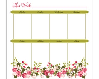 Weekly Planner Notepad | Illustrated Weekly Desk Notepad To Do List | Hand Drawn | Pink Garden Flower Weekly Notepad