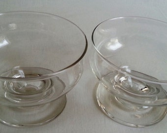 Vintage Clear Crystal Glass Dessert Ice Cream Sherbet Custard Jello Footed Dish Bowl-Set of 2