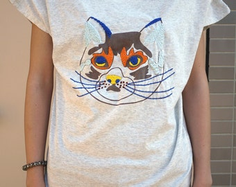 Hand Embroidered Cat T-shirt