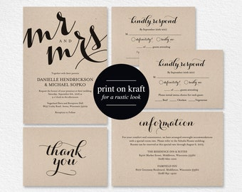 Wedding Invitation Printable Template, Wedding Invitation Editable Template, DIY Printable, Kraft Invite, PDF Instant Download #BPB133_1