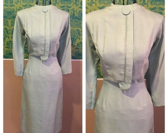 Vintage 1950s Dress - Mint Green Wiggle Dress by Ivan Frederic's - S