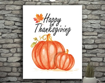 Happy Thanksgiving Pumpkin Print, Black And Orange Pumpkin Decor, Thanksgiving Kitchen Art Print, Thanksgiving Decor, Happy Fall Decorations