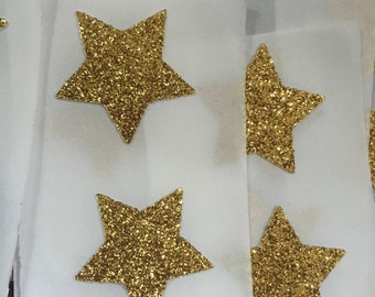 Shimmery Gold Glitter Star Seals - Gold Star Envelope Seals Planner Stickers