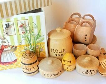 Kitchen set (32pcs) in wood box for kids play. Wooden dishes set. Kids food play set. Kids kitchen play set