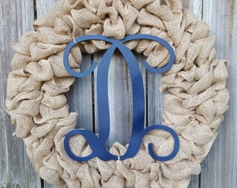 Burlap Wreath with Initial, Letter Wreath, Navy Blue Wreath, Monogram Front Door Wreath, Monogram Wreath, Navy Blue Monogram Wreath, Burlap
