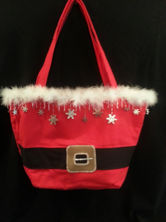 Large Handmade Santa Purse W/ Snowflakes/Iridescent Bead Mix Trim