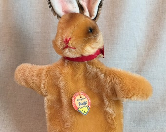 Vintage Steiff Bunny Rabbit Hand Puppet, Made in Germany