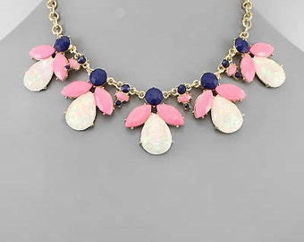 Opal, Navy & Pink Bead Statement Necklace