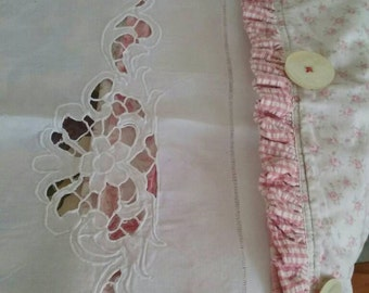 French Linen Sheet - Romantic Bedroom - Paris Apartment - Antique Bedding - Vintage BEdroom - Paris Flea Market - Shabby Chic - Trousseau