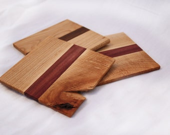 Set of 4 Handcrafted Wooden Coasters