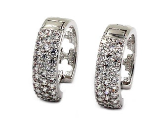 Mini circle crystal silver earrings