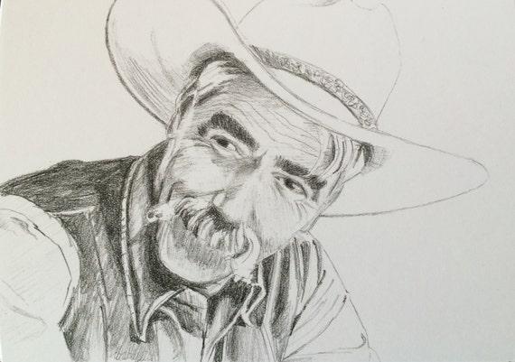Big Lebowski, Sam Elliott, The Stranger, Big Lebowski art, pencil portrait, pencil drawing, movie art, Portrait, film drawing, film portrait