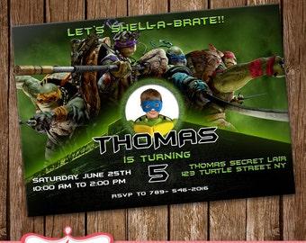 Ninja Turtles: out of the shadows, invitation Card, Party Invite, Birthday Card, Ninja Turtles LL-0174