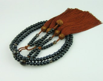 Japanese Nichiren JUZU prayer beads, ebony wood nenju, brown quartz oyadama, hokke design tassels