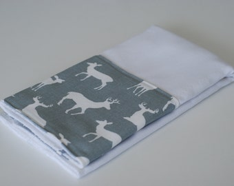 Grey Deer Personalized Burp Cloth