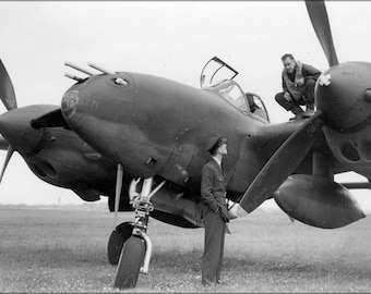 24x36 Poster . Pilot 14Th Fighter Group On Wing Of P-38 Lightning England 1942