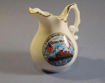 Queen Mary Ship Long Beach CA Souvenir Pitcher