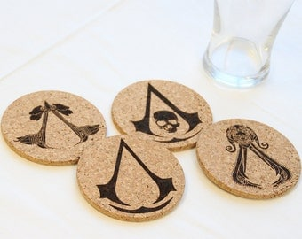 Assassin's Creed video game Assassin Insignia laser etched cork coasters - Set of 4