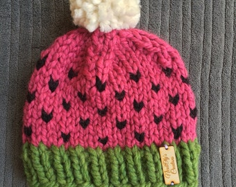 Watermelon knitted beanie